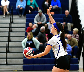 11/2/2016 Mike Orazzi | Staff Southington's Kelly Kritz (18) during Wednesday night's volleyball match with Tolland High School during the CCC Volleyball Tournament.