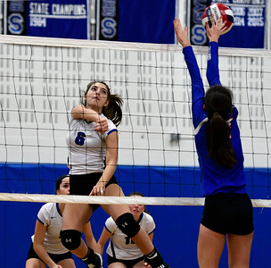 11/2/2016 Mike Orazzi | Staff Southington's Erica Bruno (6)  during the CCC Volleyball Tournament.