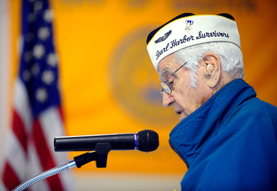 12/7/2010 Mike Orazzi | Staff Pearl Harbor Survivor Ed Riccio gives the keynote speech during a Pearl Harbor Day ceremony at the American Legion Hall on Hooker Court in Bristol on Tuesday morning.