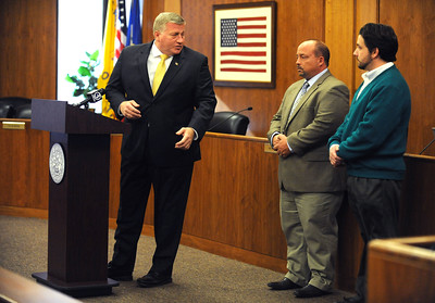 11/23/2016 Mike Orazzi | Staff Bristol Mayor Ken Cockayne, Water Department Superintendent  Robert Longo and councilman Calvin Brown during a press conference about the city's reservoir levels held at city hall Wednesday morning.