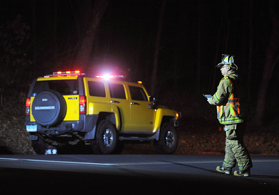 11/23/2016 Mike Orazzi | Staff  Members of the Terryville Department on scene of a one vehicle crash into a utility pole on Old Waterbury Road in Plymouth Wednesday night.