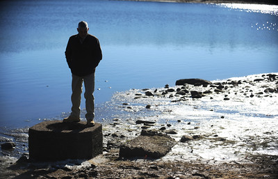 11/23/2016 Mike Orazzi | Staff Bristol Water Department's Mike Lynch at Reservoir Number 5 in Harwinton Wednesday morning.