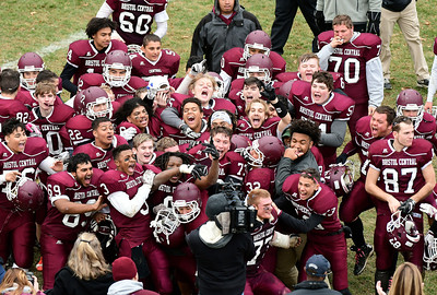 11/24/2016 Mike Orazzi | Staff Bristol Central celebrates after a win over Bristol Eastern during the annual Battle for the Bell at Muzzy Field Thursday.