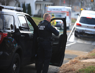 11/25/2016 Mike Orazzi | Staff Plymouth Police investigating a motor vehicle crash that began in front of Plymouth Town Hall Friday afternoon and ended in Bristol Friday afternoon.