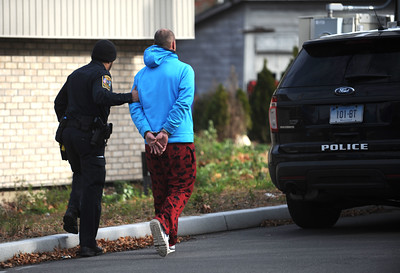 11/25/2016 Mike Orazzi | Staff Bristol police took one man into custody Friday afternoon after he allegedly evaded the scene of a four-car crash in front of Plymouth Town Hall.