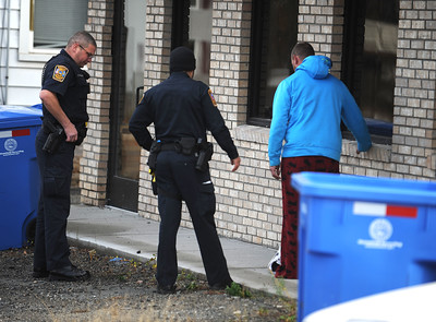 11/25/2016 Mike Orazzi | Staff Bristol police while conducting a field sobriety test on a driver of a pickup truck involved in a motor vehicle crash that began in front of Plymouth Town Hall Friday afternoon.