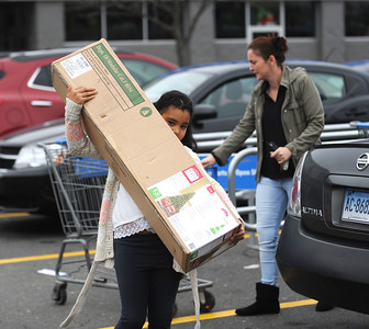 11/25/2016 Mike Orazzi | Staff Lori Sheppard and her daughter Marilyn Powell while Black Friday shopping at the Bristol Walmart where the purchased a 6.5 ft pre-lit Christmas tree for $39.99.