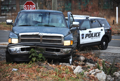 11/25/2016 Mike Orazzi | Staff A pickup truck involved in a motor vehicle crash that began in front of Plymouth Town Hall Friday afternoon and ended on Pound Street in Bristol Friday afternoon.