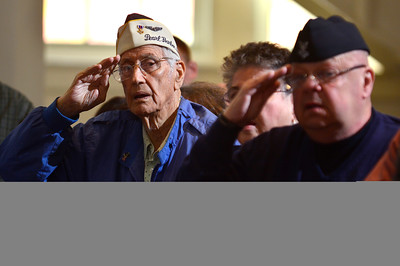 11/11/2014 Mike Orazzi | Staff Pearl Harbor Survivor Ed Riccio and Vietnam Veteran & two time Purple Heart recipient Mike Szumigala, during the Veterans Day ceremony at the Memorial Blvd. School in Bristol on Tuesday.