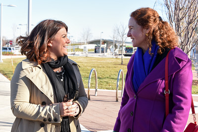 112816  Wesley Bunnell | Staff  Mayor Erin Stewart led a tour for political figures on Columbus Ave  to discuss future plans for the area. Mayor Erin Stewart, shown left, talks with Congresswoman Elizabeth Esty near the downtown CTfastrak station.