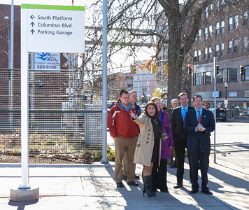 112816  Wesley Bunnell | Staff  Mayor Erin Stewart led a tour for political figures on Columbus Ave  to discuss future plans for the area. Standing near the New Britain CTfastrak station is , from left, Mayor Erin Stewart, Congresswoman Elizabeth Esty, Senator Chris Murphy and Senator Richard Blumenthal.