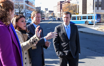 112816  Wesley Bunnell | Staff  Mayor Erin Stewart led a tour for political figures on Columbus Ave to discuss future plans for the area. From left Congresswoman Elizabeth Esty, Mayor Erin Stewart, Senator Richard Blumenthal & Senator Chris Murphy with West Main St in the background.