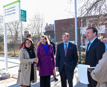 112816  Wesley Bunnell | Staff  Mayor Erin Stewart led a tour for political figures on Columbus Ave  to discuss future plans for the area. Standing near the New Britain CTfastrak station is , from left, Mayor Erin Stewart, Congresswoman Elizabeth Esty, Senator Richard Blumenthal and Senator Chris Murphy.