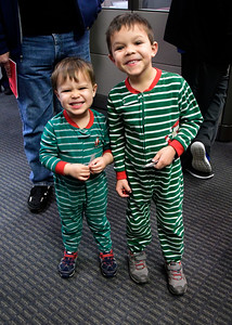 11/29/2016 Mike Orazzi | Staff Brothers Matthew and Luke Hull during the 65th Annual Bristol Carol Sing and the 26th Annual Holiday Lighting Ceremony held inside Webster Bank on Main Street Tuesday night.