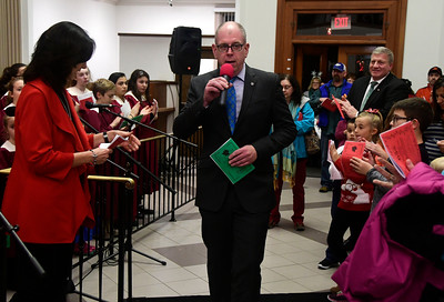 11/29/2016 Mike Orazzi | Staff Webster Bank Regional President Timothy Bergstrom during the 65th Annual Bristol Carol Sing and the 26th Annual Holiday Lighting Ceremony held inside Webster Bank on Main Street Tuesday night.