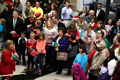 11/29/2016 Mike Orazzi | Staff The 65th Annual Bristol Carol Sing and the 26th Annual Holiday Lighting Ceremony held inside Webster Bank on Main Street Tuesday night.