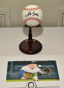 11/3/2016 Mike Orazzi | Staff An autographed George Springer baseball during the Boys & Girls Club of New Britain's 125th annual meeting and gala that featured feature Hall of Fame basketball coach Geno Auriemma as the guest speaker at the Farmington Club Thursday night.