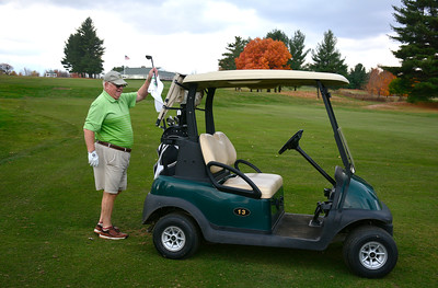 11/3/2016 Mike Orazzi | Staff Tim O'Donnell out enjoying 70 degree temperatures at Chippanee Golf Club in Bristol Thursday. O'Donnell has been a member of the club for 40 years.