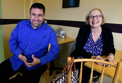 11/5/2016 Mike Orazzi | Staff State rep Bobby Sanchez and  state senator Terry Gerratana during  a Getting Out The Vote Breakfast at Cafe Beauregard in downtown New Britain Saturday morning.