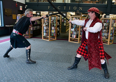 11/5/2016 Mike Orazzi | Staff Christian McCullough and Josef Dasrote during the inaugural Renaissance Fair held at the Southington Public Library on Saturday.