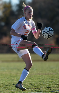 100716  Wesley Bunnell | Staff  Terryville captain Jenna Covello (2) gains control of the ball a Class S first round girls soccer tournament game against HMTCA on Monday afternoon at Terryville High.