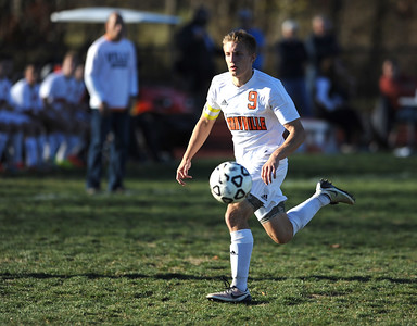 11/8/2016 Mike Orazzi   Staff Terryville's Kyle Hotchkiss (9) during the Class S First Round Soccer Tournament at THS Tuesday.