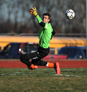 11/8/2016 Mike Orazzi   Staff Terryville's Josh Mazur (GK) during the Class S First Round Soccer Tournament at THS Tuesday.