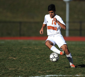 11/8/2016 Mike Orazzi   Staff Terryville's Shayan Sasani (14) during the Class S First Round Soccer Tournament at THS Tuesday.