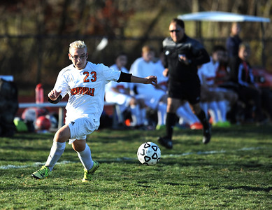 11/8/2016 Mike Orazzi   Staff Terryville's Ardonis Shahini (23) during the Class S First Round Soccer Tournament at THS Tuesday.