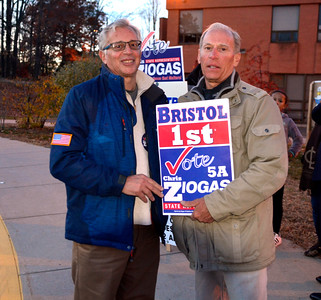 11/8/2016 Mike Orazzi   Staff Candidate Chris Ziogas and his brother John greet voters at the South Side School in Bristol Tuesday.