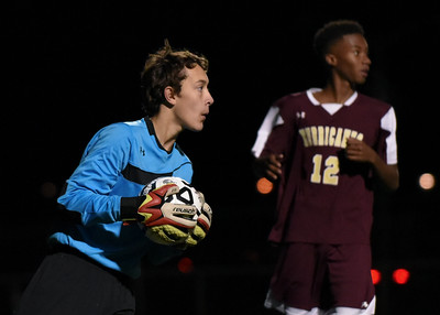 110816  Wesley Bunnell   Staff  Freshman Goalkeeper Adam Gottner with the ball during the New Britain boys soccer first round class LL match vs Hall played at Hall High School on Tuesday evening.