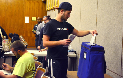 11/8/2016 Mike Orazzi   Staff First time voter Peter Gancarz after registering and voting at Bristol City Hall Tuesday.