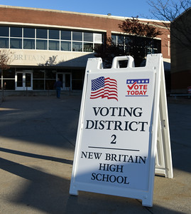 110816  Wesley Bunnell   Staff  The New Britain High School polling location on Tuesday afternoon.