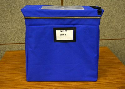 11/8/2016 Mike Orazzi   Staff The ballot box for same day voters at Bristol City Hall Tuesday.