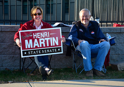 11/8/2016 Mike Orazzi   Staff Roxanne Martin and Jim Albert outside the polls at the West Bristol School Tuesday afternoon.