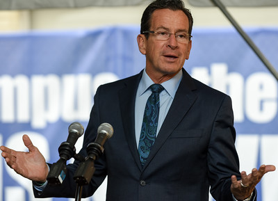 110916  Wesley Bunnell | Staff  Governor Dannel P. Malloy at the podium during the CCSU groundbreaking ceremony for the Willard-DiLoreto Hall renovations on Wednesday afternoon.