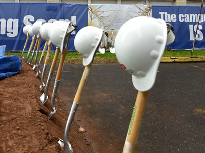 110916  Wesley Bunnell | Staff  Shovels and hard hats lined up in preparation for the CCSU groundbreaking ceremony for the Willard-DiLoreto Hall renovations on Wednesday afternoon.