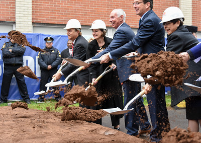110916  Wesley Bunnell | Staff  CCSU held their groundbreaking ceremony for the Willard-DiLoreto Hall renovations on Wednesday afternoon. Starting second from the left are Vice President of Student Affairs Laura Tordenti, President of the CSCU System Mark. E. Ojakian, Governor Dannel P. Malloy & Incoming President of CCSU Zulma R. Toro.