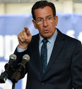 110916  Wesley Bunnell | Staff  Governor Dannel P. Malloy's gestures while giving his speech during the CCSU groundbreaking ceremony for the Willard-DiLoreto Hall renovations on Wednesday afternoon.
