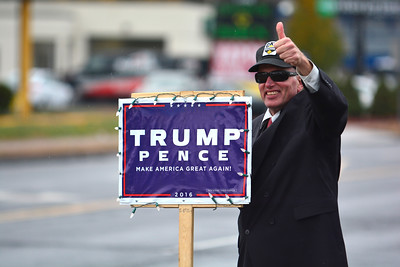 11/9/2016 Mike Orazzi | Staff Bruce Martin holding a Donald Trump sign supporting the president elect in Bristol Wednesday on Route 6.
