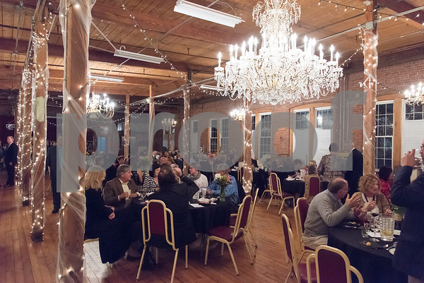 11/4/17 Wesley Bunnell | Staff The 2017 ACE awards took place Saturday evening at the New England Carousel Museum. Guests enjoy their dinner before the start of the ceremony.