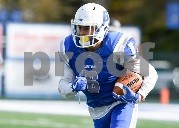 11/4/17 Wesley Bunnell | Staff CCSU football defeated St. Francis 28-10 in a home game at Arute Field. WR Jose Garcia (6).