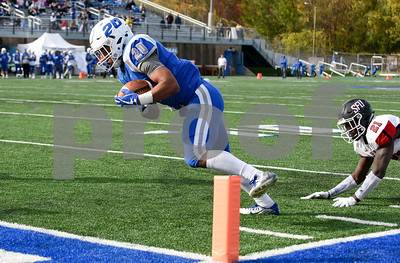 11/4/17  Wesley Bunnell   Staff  CCSU football defeated St. Francis 28-10 in a home game at Arute Field. RB Drew Jean-Guillaume (20) with a touchdown run.