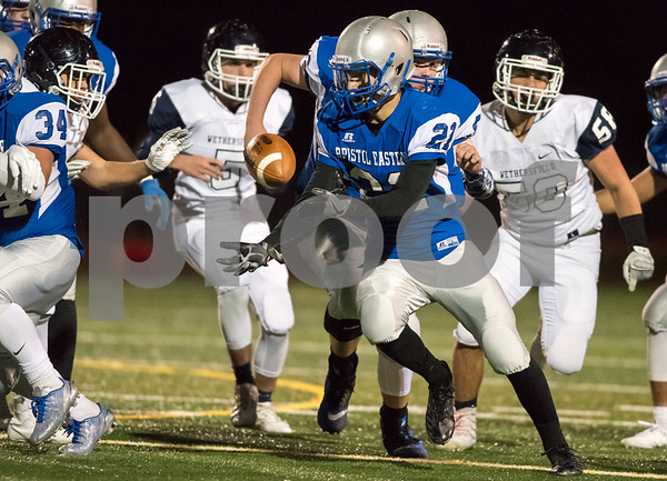 11/3/17 Wesley Bunnell   Staff Wethersfield at Bristol Eastern football at Bristol Eastern High School on Friday night. Ariza Kolloverja (21) loses the ball mid run but was able to recover.