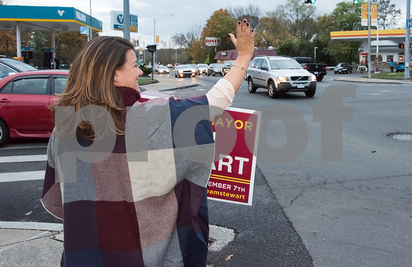 11/6/17 Wesley Bunnell   Staff Mayor Erin Stewart waves to motorists on the corner of West Main & Corbin Ave on Monday afternoon ahead of Tuesday's elections.