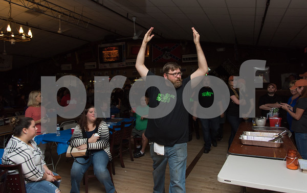 11/6/17 Wesley Bunnell   Staff The Southington Chamber of Commerce held their 12th annual Wing Fest on Monday evening at The Cadillac Ranch. Chef Jeffery Christiance of The Groggy Frog reacts as they are announced as winners of the hottest wings.