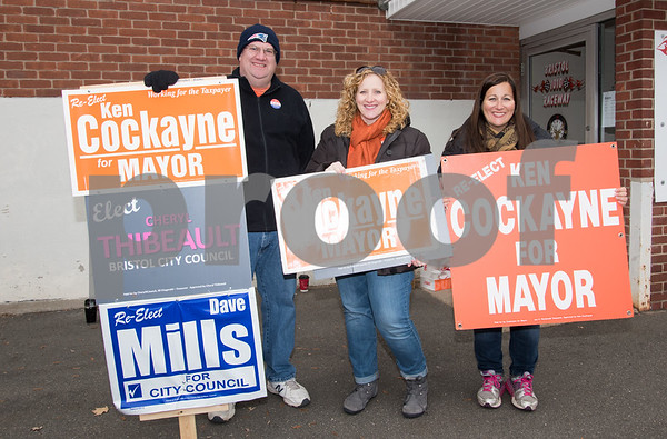 11/7/17 Wesley Bunnell | Staff Standing outside of the Elks Club polling location on Tuesday at noon are Alex Carros, Cindy Lamarre and Carrie Denino. Cindy and Carrie are sisters of Incumbent Mayor Ken Cockayne.