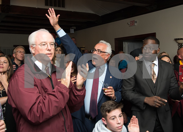 11/7/17 Wesley Bunnell | Staff Team Stewart at their election night headquarters at The Back Nine Tavern at Stanley Golf Course. Alderman Daniel Salerno reacts to winning re-election.