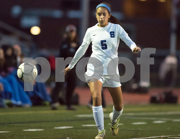 11/7/17 Wesley Bunnell | Staff Southington girls soccer vs Hall on Tuesday evening at Southington High School. Alijah Vega (6).
