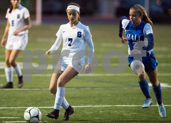 11/7/17 Wesley Bunnell | Staff Southington girls soccer vs Hall on Tuesday evening at Southington High School. Emma Panarella (7).